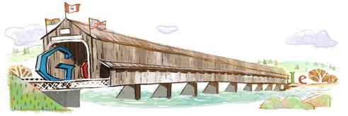 Google Logo: 111th anniversary of world's longest covered bridge - Hartland covered bridge