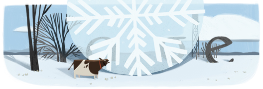 Google Logo: 125th Anniversary of the largest snowflake - 38cm in diameter - Fort Keogh, Montana, United States