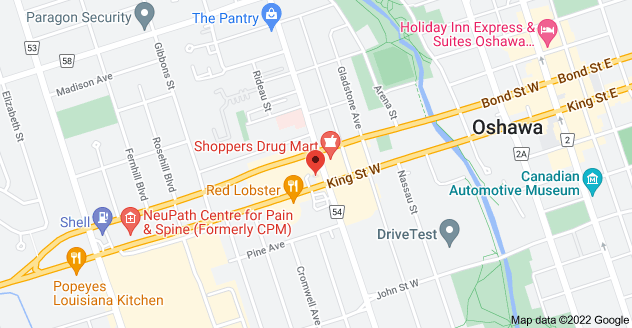 Map of 282 King St W, Oshawa, ON L1J 4K7