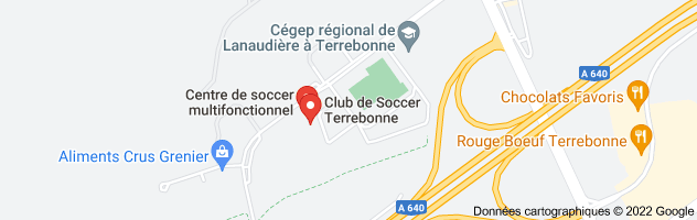 centre de soccer de terrebonne: carte