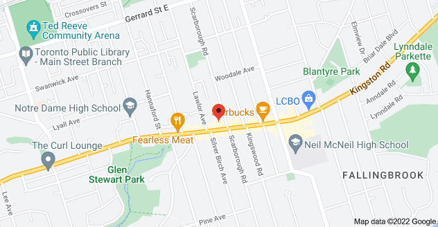 Map of 952 Kingston Rd, Toronto, ON M4E 1S7