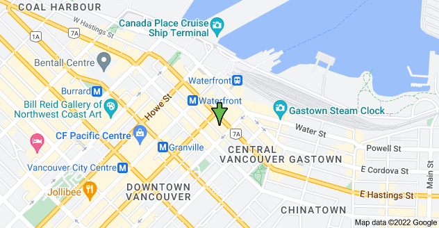 Map of 550 W Hastings St, Vancouver, BC V6B 1L6