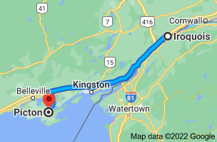Map from Iroquois, Ontario K0E 1K0 to Picton, Prince Edward, ON