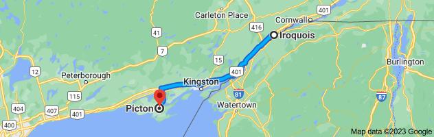 Map from Iroquois, Ontario K0E 1K0 to Picton, Prince Edward, ON