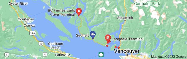 Map of Sechelt ferry map