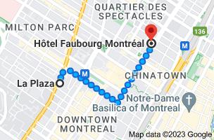 Map from La Plaza, 420 Sherbrooke St W, Montreal, QC H3A 1B4 to Hôtel Faubourg Montréal Centre-Ville Downtown, 155 Boulevard René-Lévesque E, Montréal, QC H2X 3Z8